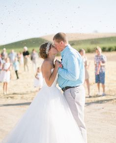 An At-Home Wedding in Paso Robles, California Wedding Kiss, Home Wedding, Wedding Bells, Dream Wedding, Wedding Day, Wedding Dreams, Wedding Stuff, Bride Groom Photos, Wedding Confetti