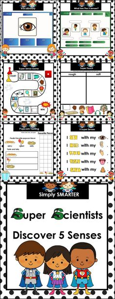 If you want to supplement your study of 5 SENSES in preschool, kindergarten, or first grade, this is the resource for you! This file is complete with FOURTEEN different science activities that can be used in your classroom for whole group instruction, small group work, or individual practice! This SMART Board file includes the following: predictions, results, graphing, data table, vocabulary, observation and MORE!