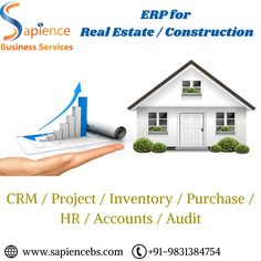 Sapience Business Services is engaged in development and implementation of ERP software for Real Estate Companies and construction companies for the last 9 years. For more details, please visit www.sapiencebs.com or call us at +91-9831384754 #erpsoftwareforrealestate #erpsoftwareforconstructionindustry #realestateerpinindia #erpsoftwareforrealestateindustry #realestateerpinkolkata #constructionerpkolkata #ERPforconstructionindustryinkolkata #erpsoftwareinkolkata #realestateerpkolkata Construction Companies, Construction Business, Website Design Company, Real Estate Companies, Kolkata, Software Development, Digital Marketing, Web Design Company