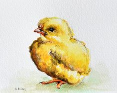 Original Watercolor Bird Painting, Small Chicken, Easter Bird 4x6 inch