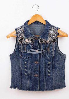 Aliexpress.com: Comprar Pt 2014 nuevas mujeres Vintage Washed Denim Blue lentejuela embellish Jean chaleco sin mangas de la chaqueta de jean chaqueta para hombre fiable proveedores en smiletown