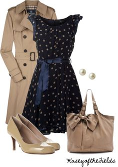"""""""Nude and Navy"""" by kaseyofthefields on Polyvore ~ I want that dress!"""