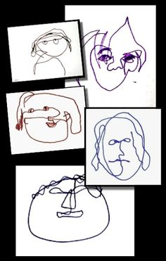 Learn to Draw One-Minute Faces - a blind contour drawing lesson inspired by Alexander Calder's wire sculptures. Simple, yet very challenging -- and no prep required!