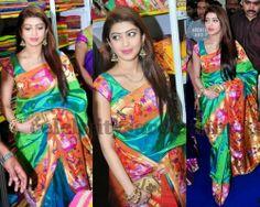 Pranitha in Pythani Silk Saree Half Saree Designs, Silk Saree Blouse Designs, Saree Blouse Patterns, Latest Silk Sarees, Pure Silk Sarees, Maharashtrian Saree, Pattu Sarees Wedding, Rekha Saree, Silk Saree Kanchipuram