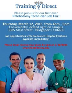 @TrainingDirect: Don't miss the first ever Phlebotomy technician Job Fair on March 12 from 4pm-5pm! http://t.co/lr7HrNEpMJ #bridgeport http://t.co/UPPjJIafvF