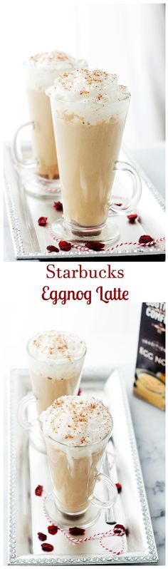 Starbucks Eggnog Latte - This festive, Starbucks-inspired latte is made with strong brewed espresso, steamed eggnog and milk. Brown sugar and nutmeg, too. Save yourself 5$ and make it at home - it's delicious!!
