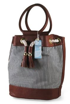 #Mudpie Denim Stripe Rope #Tote  Price : $30.00 http://www.whimsicalumbrella.com/Mudpie-Denim-Stripe-Rope-Tote/dp/B00GK1UQHA #whimsicalumbrella