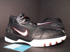 8a34ebae13d 04 Nike Air ZOOM GENERATION LEBRON JAMES BLACK WHITE CRIMSON RED 308214-011  9.5