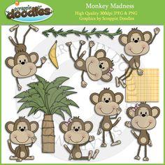 Monkey Madness Clip Art