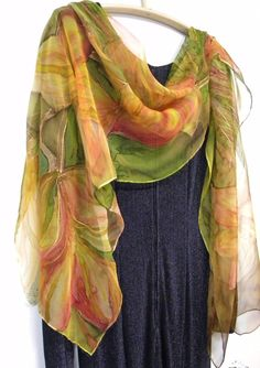 Hand painted silk scarf wearable art with lilies by singingscarves,