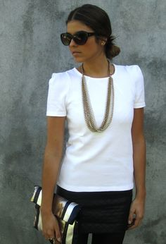 Black&white.  , Zara in Shirt / Blouses, Blanco in Clutches