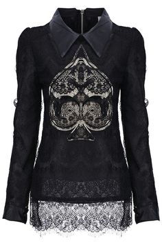 Sequined Spade-shaped Lace Blouse