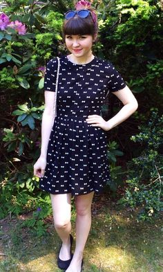 This bow print dress is the cutest! #blackandwhite #print #summer
