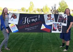 Giant LDS Welcome Home Banner PRINTABLE for Elders and Sisters. This one features a flag and up to 5 mission pictures! Missionary Homecoming, Homecoming Signs, Homecoming Posters, Missionary Gifts, Sister Missionaries, Welcome Home Banners, Welcome Home Parties, Missionary Care Packages, Printable Banner