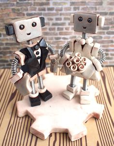 Rustic Shabby Robot Wedding Cake Topper READY TO SHIP - Clay and Wire