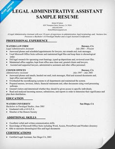 images about resume on pinterest   resume  resume examples    legal administrative assistant resume sample