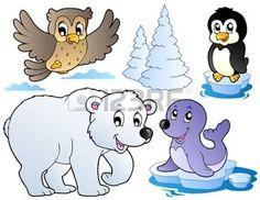 Varios animales de invierno feliz - ilustraci�n vectorial. photo