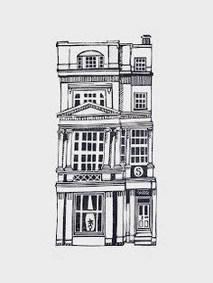 Jeff Josephine Designs News: Linocut Houses 1 - 5 Black And White Building, Black And White Drawing, Black And White Illustration, Black And White Cartoon, Building Illustration, House Illustration, Illustrations, Building Drawing, Building Sketch