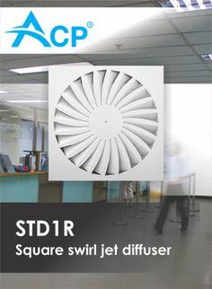 STDR1R Square  swirl jet diffuser | Difuzor rectangular cu jet turbionar ------ | #hvac | #acp | #manufacturer | #ventilation | #products | #romania | #ventilatie | #griledeventilatie | #producator | #technology