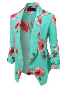 This open front floral blazer jacket is a must have! Its super lightweight and soft will guarantee maximum comfort. Perfect for any occasion.   97% Polyester / 3% Spandex Lightweight, super soft material for comfort Open front / No closure Draped front / Ruched sleeve Dry clean only