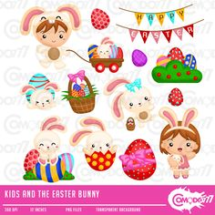 50% OFF !! Kids and Easter Bunny Clipart / Digital Clip Art for Commercial and Personal Use / INSTANT DOWNLOAD by comodo777 on Etsy https://www.etsy.com/uk/listing/267061302/50-off-kids-and-easter-bunny-clipart