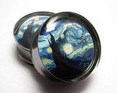 IRONY Van Gogh Starry Night Ear Gauge Plugs 2g, 0g, 00g, 7/16, 1/2, 9/16, 5/8, 3/4, 7/8, 1 inch