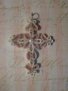 Quilled Paper Cross Pendant Or Book Mark Paper Filligree Paper Quilling