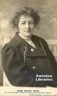 Swindon's Edith New from a working class family became a teacher at 14 & a militant #Suffragette in her 20's chaining herself to rails at Downing St, breaking windows & serving time in gaol