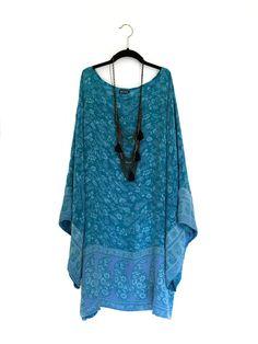 ed7c072dc1e Silk kimono sleeve caftan   dress   tunic beach cover up in turquoise blue