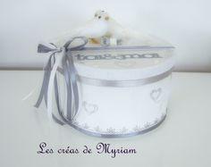 urne de mariage ronde en carton blanche et grise avec couple d'oiseaux : Boîtes, coffrets par mirielle
