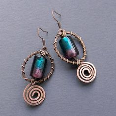 Copper earrings with glass beads (with different center beads)