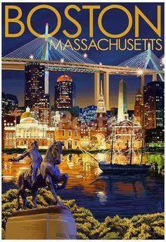 Boston, Massachusetts - Skyline at Night Landscapes Poster - 33 x 48 cm