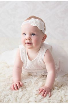 elegance is simplicity, just like this white silk headband #christening #baptism #babygirl #headband  White Christening Head piece Headband white Dupion silk and lace baby hair band baptism head band
