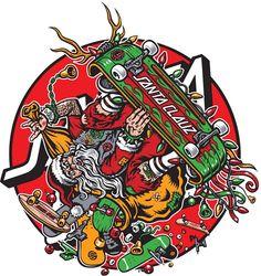 Santa Cruz, Santa Clauz by Jimbo Phillips Santa Cruz Hand, Santa Cruz Logo, Skateboard Design, Skateboard Art, Santa Cruz Stickers, Musica Punk, Christmas Rock, Grunge, Skate Decks