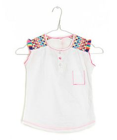 Loving this White Embroidered Tunic - Girls on #zulily! #zulilyfinds