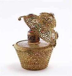 Lot: 243: 1930s Irice Czech Jeweled Perfume Bottle, Lot Number: 0243, Starting Bid: $70, Auctioneer: Perfume Bottles Auction, Auction: Perfume Bottles Auction, Date: April 29th, 2011 EDT