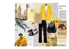 """""""sound of the melancholy"""" by resyarizky ❤ liked on Polyvore featuring Whiteley, River Island, M.i.h Jeans, SHE MADE ME, Everlane, yellow, warm and nct"""