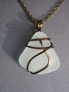 Striking seaglass necklace on bronze wire from Monterey Bay Seaglass