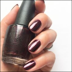 "OPI ""Rich and Brazilian"" gel polish. Beautiful aubergine and microshimmers. Love this."