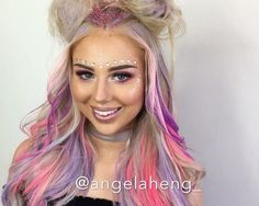 *reupload - trying to fix a glitch to only realise later on that it couldn't be fixed 🙃. Rave Eye Makeup, Bun Styles, Long Hair Styles, Rock Your Locks, Wacky Hair, Face Jewellery, Lgbt, Special Effects Makeup, Festival Makeup