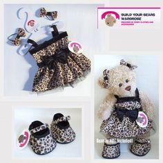 c1ef65d5839 Details about Teddy Bears Clothes fit Build a Bear Teddies Leopard Print  Dress 2 Bows (Shoes)
