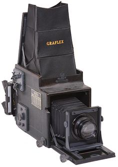 "The Graflex ""Graflex"" camera is amazing: a large-format SLR, complete with swinging mirror, and an automatic stop-down diaphragm, all over fifty years ago. The Graflex Super D revolving-back single-lens reflex cameras was the last Graflex SLR made."