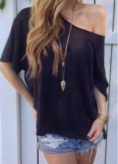 Skew Neck Black Slit Design T Shirt