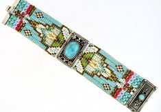 Chili Rose Turquoise and Gemstone Diana Bracelet Bead Loom Bracelets, Beaded Bracelet Patterns, Gemstone Bracelets, Handmade Bracelets, Silver Bracelets, Beading Patterns, Beading Ideas, Embroidery Bracelets, Handmade Beads