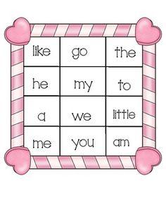 Valentine's Sight Word Bingo      Bingo는 친숙한 게임이므로 저학년 아이들이 sight word를 학습하기에 적절하다.