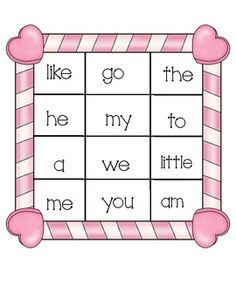 Valentine's Sight Word Bingo
