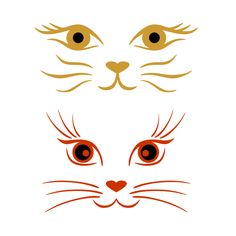 Cat And Kittens Bengal - Big Cat Cubs - Cool Cat Tree - Walking Cat Gif - Siamese Cat Anatomy Cat Crafts, Rock Crafts, Cat Face Halloween, Machine Silhouette Portrait, Silhouette Cameo, Adobe Illustrator, Cat Face Drawing, Drawing Faces, Cat Template