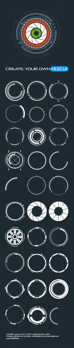30 Primitive HUD Circles - Custom Shapes - Shapes Photoshop