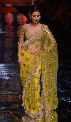 Beautiful Saree by Rina Dhaka @ Aamby Valley India Bridal Fashion Week, 2013 Indian Attire, Indian Wear, India Fashion, Asian Fashion, Indian Dresses, Indian Outfits, Anarkali, Lehenga Choli, Bridal Lehenga