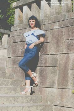 50s Western stile Capri pantaloni in denim - 1950 Capri Pants in denim